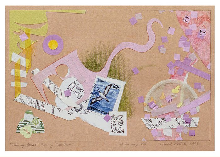 Collage Greeting Card featuring the mixed media Falling Apart Falling Together by Eileen Hale