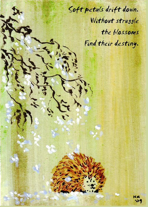 Hedgehog Greeting Card featuring the painting Falling Blossoms Hedgehog Haiku 3 by Kerry Hartjen