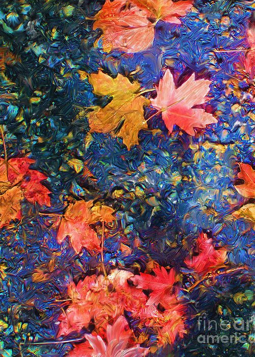 Fall Greeting Card featuring the mixed media Falling Blue Leave by Marilyn Sholin