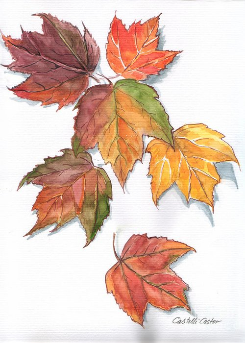 Leaves Greeting Card featuring the painting Falling Leaves by JoAnne Castelli-Castor