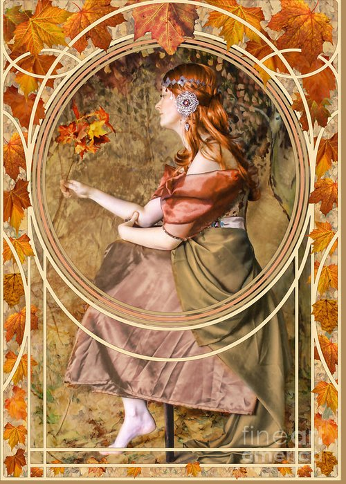 Art Greeting Card featuring the digital art Falling Leaves by John Edwards