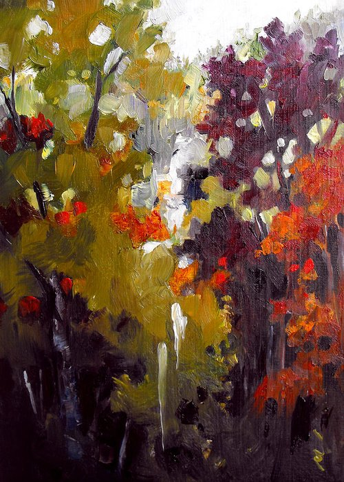 Oil Painting Greeting Card featuring the painting Falling Through Fall by Monica Linville