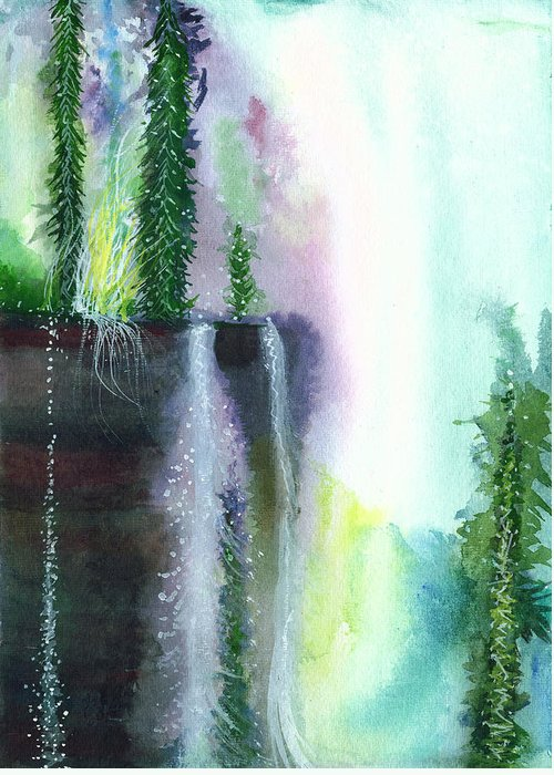 Rain Greeting Card featuring the painting Falling Waters 1 by Anil Nene