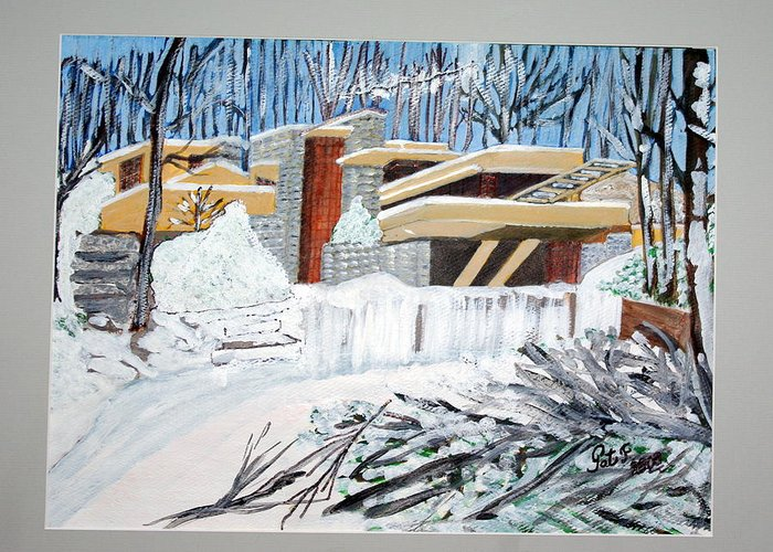 Franklloyd Wright Fallingwater Greeting Card featuring the painting Fallingwater by Patricia Fragola