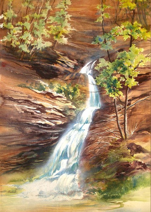 Water Falls;rocks;trees;hocking Hills;watercolor Painting; Greeting Card featuring the painting Falls At Hocking Hills by Lois Mountz