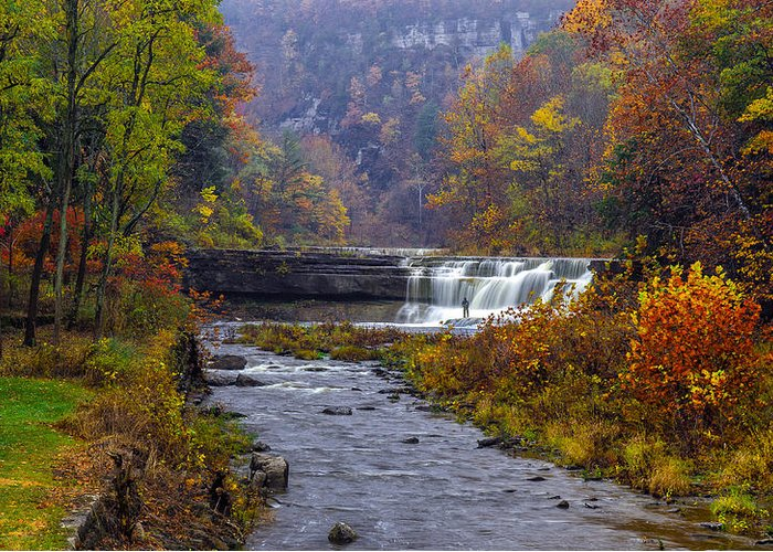 Taughannock Falls State Park Greeting Card featuring the photograph Falls Fishing by Mark Papke
