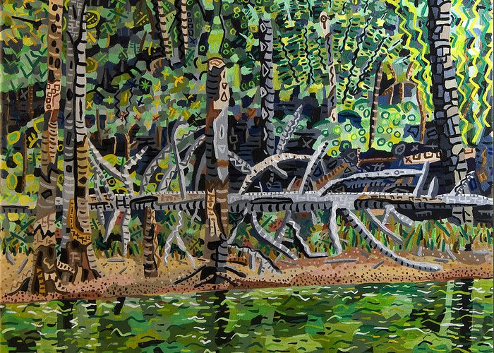Acrylic Greeting Card featuring the painting Falls Lake In July by Micah Mullen
