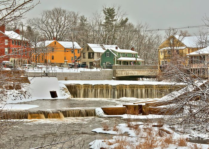 Exeter New Hampshire Greeting Card featuring the photograph Falls on Exeter River by Diana Nault