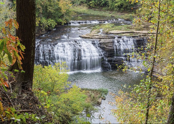 Burgess Falls Greeting Card featuring the photograph Falls Through The Trees by John Benedict