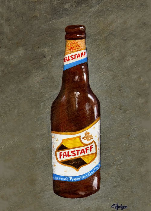 Beer Greeting Card featuring the painting Falstaff Beer Bottle by Elaine Hodges