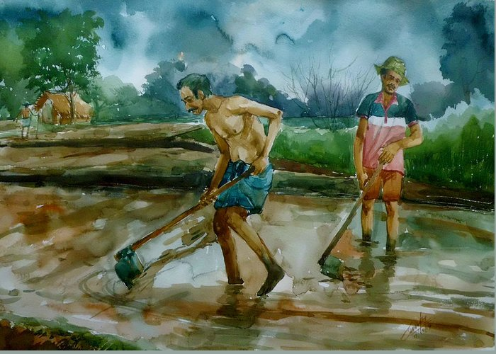 Greeting Card featuring the painting Famer by Senake Jayasinghe