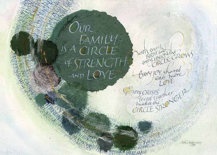 Adoption Greeting Card featuring the painting Family Circle by Judy Dodds