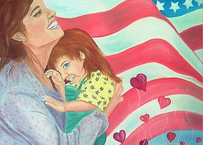 Flag Greeting Card featuring the painting Family Country and Apple Pie by Kathern Welsh