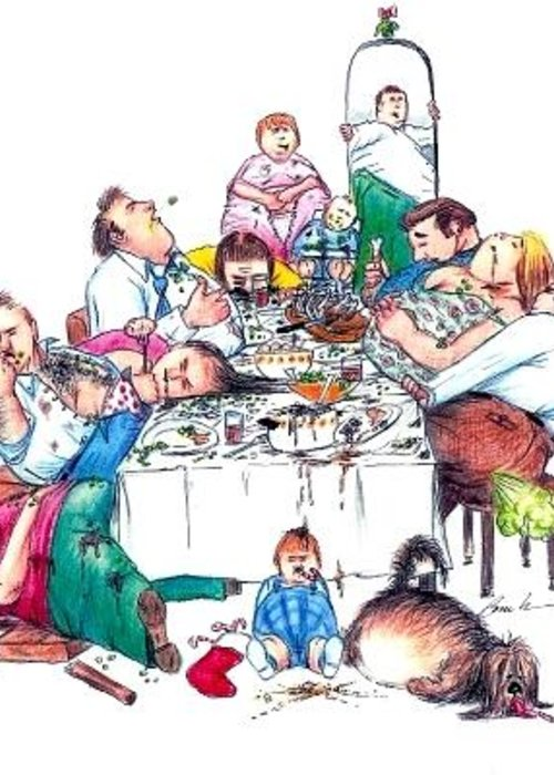Humor Get Even Greeting Card featuring the drawing Family Dinner by Bruce Lennon
