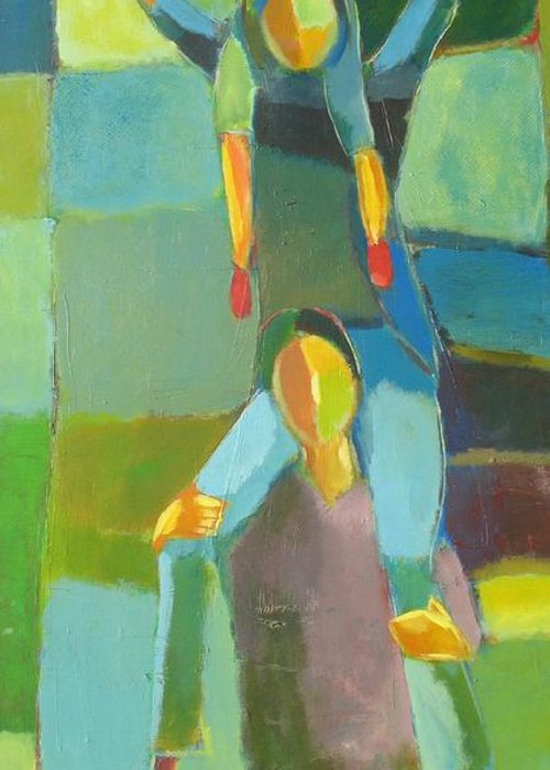 Abstract Greeting Card featuring the painting Family Joy by Habib Ayat