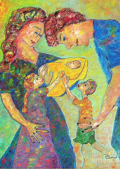 Family Enjoying Each Other Greeting Card featuring the painting Family Matters by Naomi Gerrard