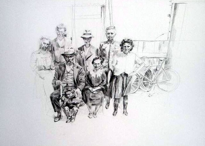 Drawing Greeting Card featuring the painting Family by Nel Kwiatkowska
