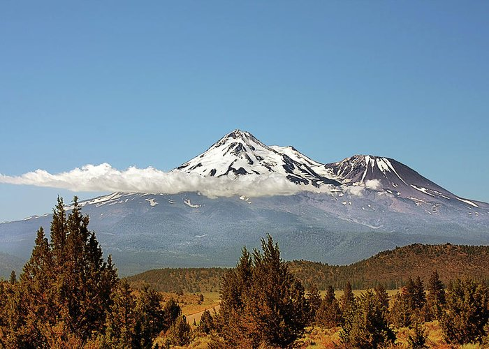 Shasta Greeting Card featuring the photograph Family Portrait - Mount Shasta And Shastina Northern California by Christine Till