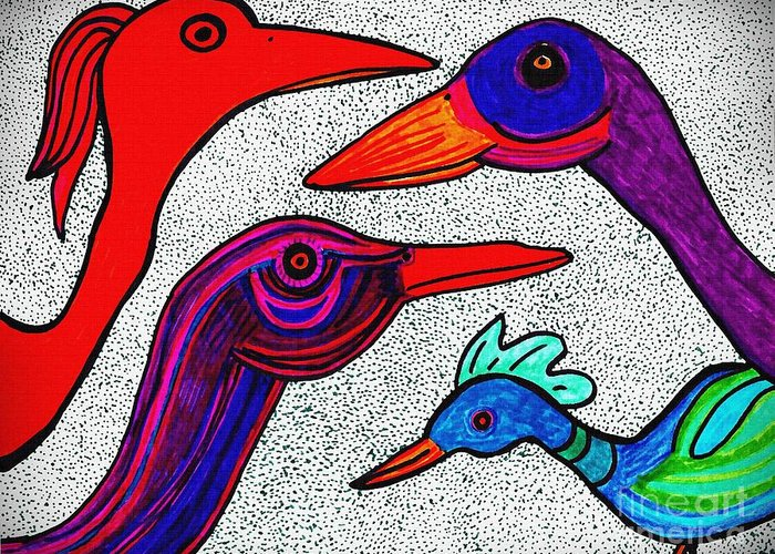 Bird Greeting Card featuring the drawing Family Portrait by Sarah Loft
