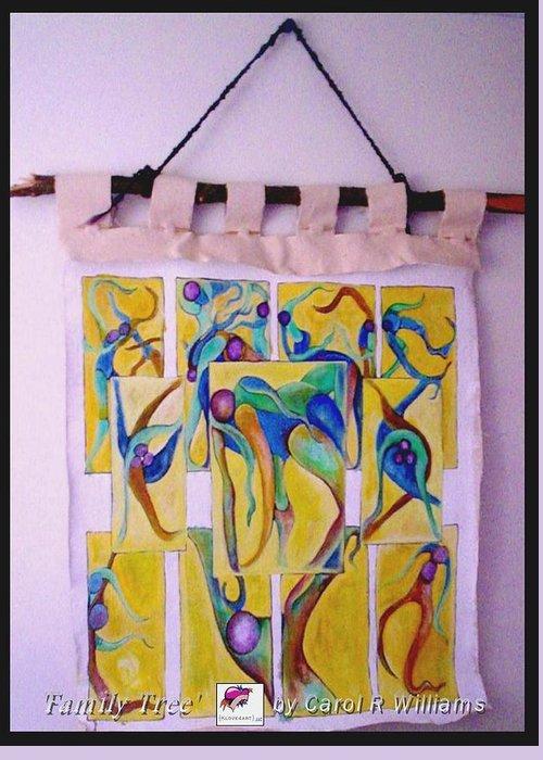 Tree Greeting Card featuring the painting Family Tree by Carol Rashawnna Williams