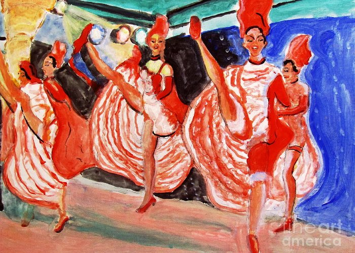 Famous French Cancan Greeting Card featuring the painting Famous French Cancan by Stanley Morganstein