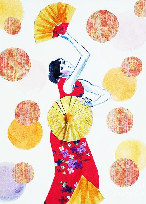 Portraits Greeting Card featuring the painting Fan Dance by Angelique Bowman