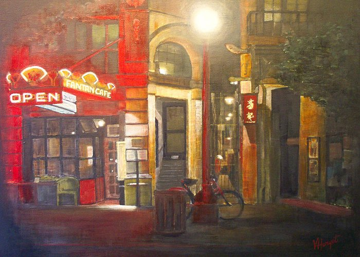 Chinatown Greeting Card featuring the painting Fan Tan Alley by Victoria Heryet