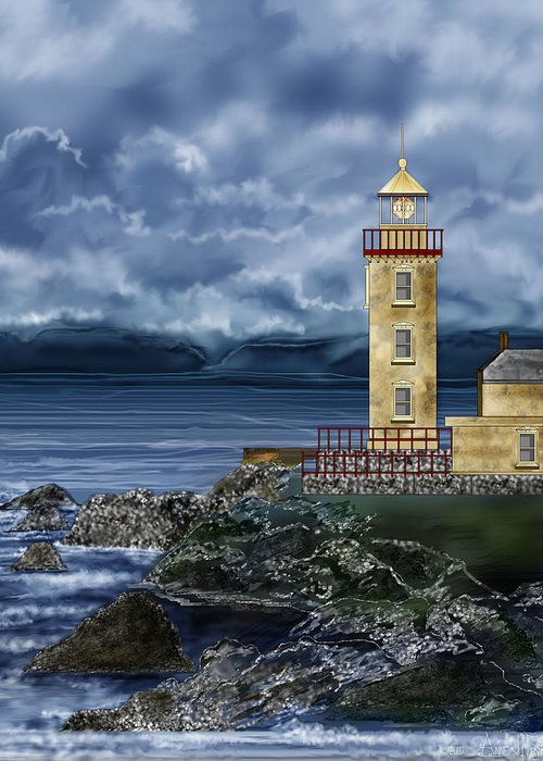 Lighthouse Greeting Card featuring the painting Fanad Head Lighthouse Ireland by Anne Norskog