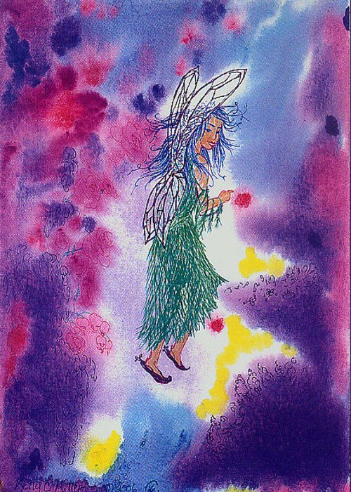 Abstract Greeting Card featuring the painting Fanciful Faerie by Kelly Miller