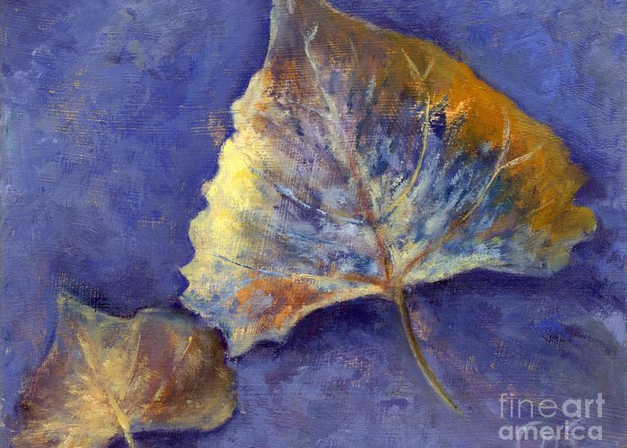 Leaves Greeting Card featuring the painting Fanciful Leaves by Chris Neil Smith