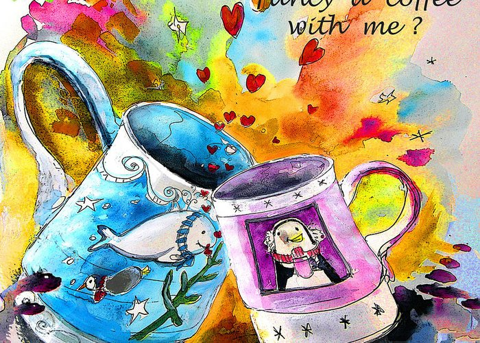 Cafe Crem Greeting Card featuring the painting Fancy a coffee by Miki De Goodaboom