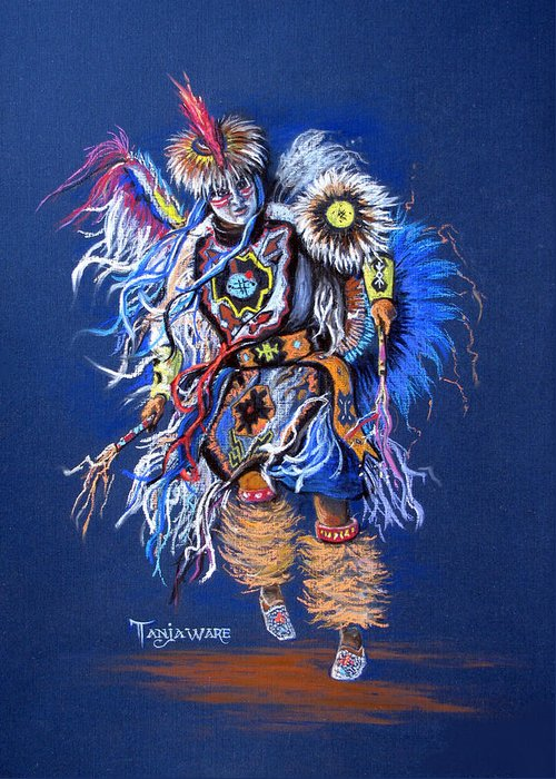 Native American Greeting Card featuring the pastel Fancy Dancer II by Tanja Ware