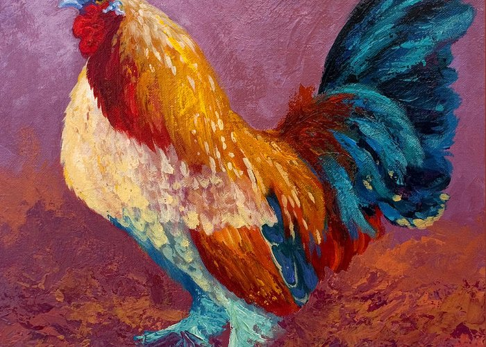 Rooster Greeting Card featuring the painting Fancy Pants by Marion Rose