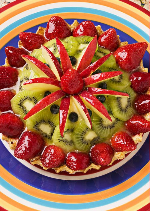 Fruit Greeting Card featuring the photograph Fancy Tart Pie by Garry Gay