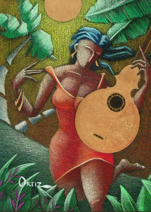 Puerto Rico Greeting Card featuring the painting Fantasia Boricua by Oscar Ortiz