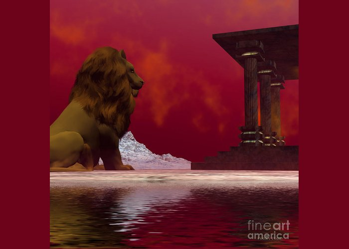 Lion Greeting Card featuring the painting Fantasisms by Corey Ford