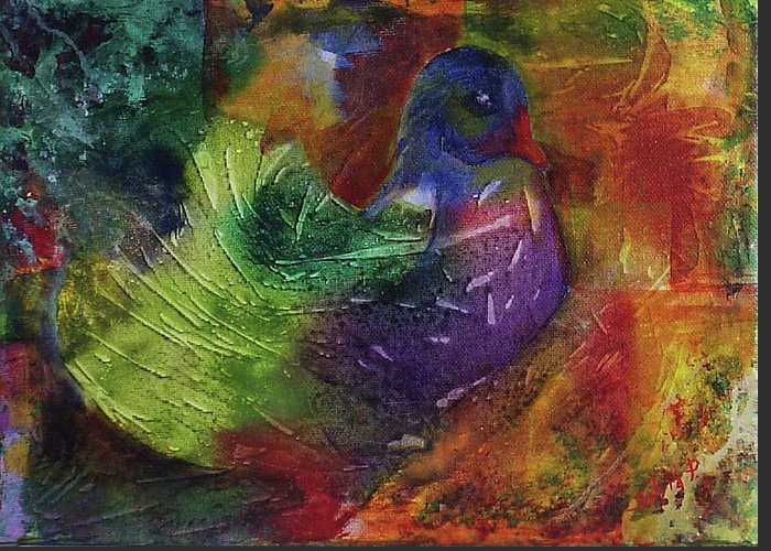 Animal Greeting Card featuring the painting Fantasy Bird by Silvia Philippsohn
