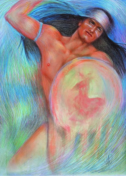 Native American Greeting Card featuring the painting Fantasy Brave by Elizabeth Silk