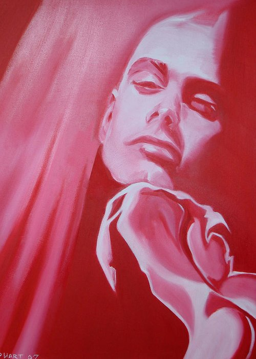 Erotic Male Portrait Abstract Red Greeting Card featuring the painting Fantasy by Davinia Hart