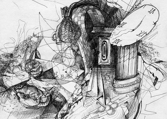 Fantasy Drawing Greeting Card featuring the painting Fantasy Drawing 3 by Svetlana Novikova
