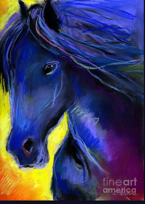 Equine Artists Greeting Card featuring the painting Fantasy Friesian Horse Painting Print by Svetlana Novikova