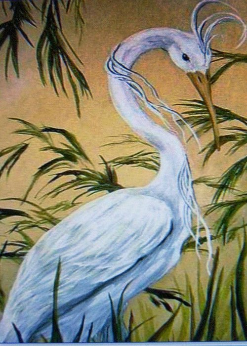 Bird Greeting Card featuring the painting Fantasy Heron by Patricia R Moore