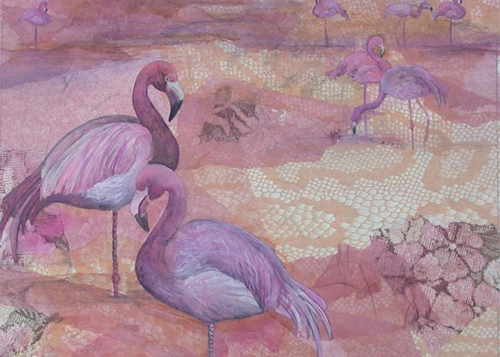 Flamingo Greeting Card featuring the painting Fantasy In Pink by Sandy Clift