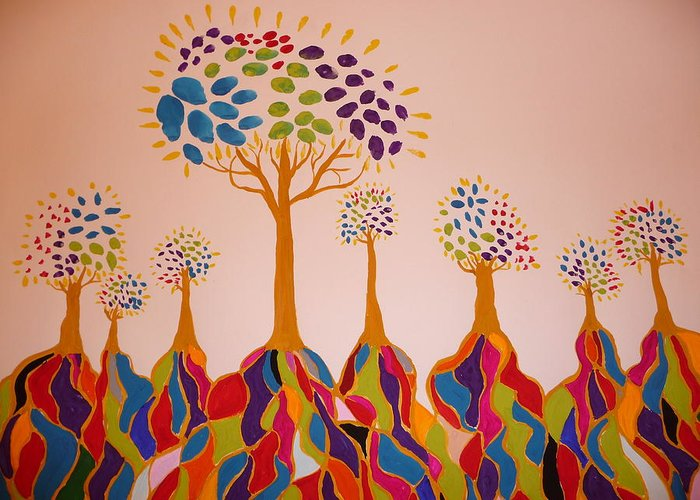 Trees Greeting Card featuring the painting Fantasy Trees by Debra LaBar