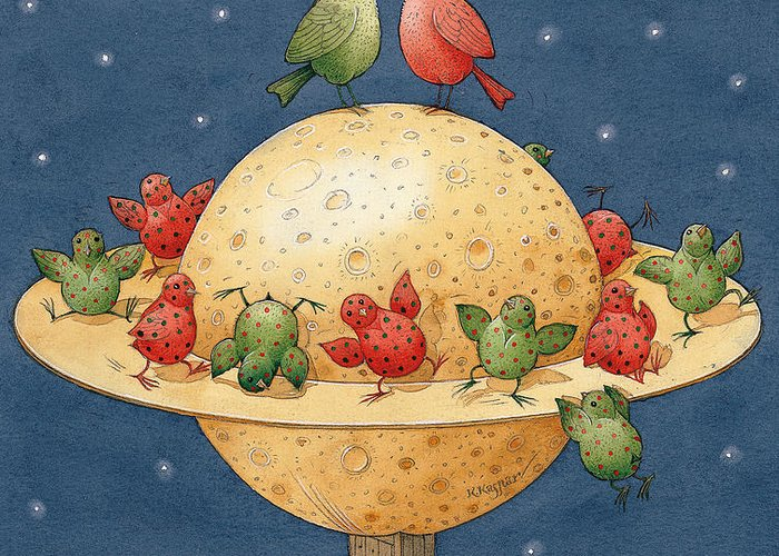 Planet Space Cosmos Love Birds Children Green Red Greeting Card featuring the painting Far Planet by Kestutis Kasparavicius