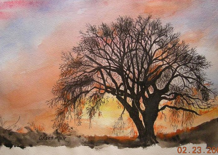 Landscape Greeting Card featuring the painting Farewell Mr. Oak 2 by Olga Kaczmar