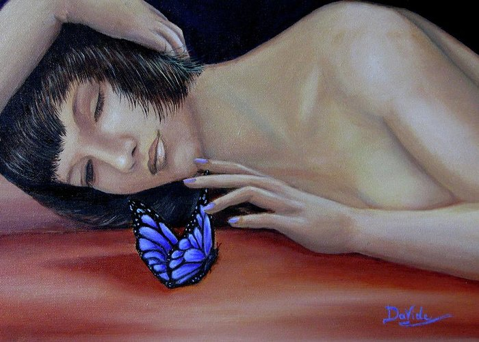 Greeting Card featuring the painting Farfalla - Butterfly by Davide Nava
