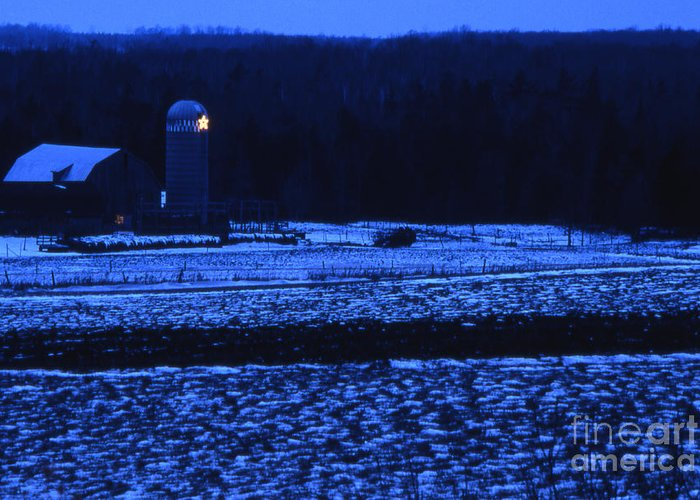 Barn Greeting Card featuring the photograph Farm At Christmas by Timothy Johnson