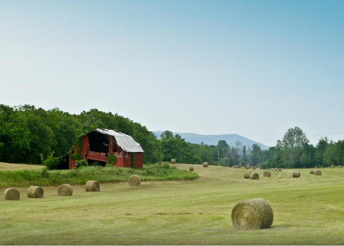 Farm Greeting Card featuring the photograph Farm Barn Listing by Douglas Barnett