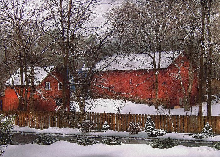 Savad Greeting Card featuring the photograph Farm - Barn - Winter In The Country by Mike Savad